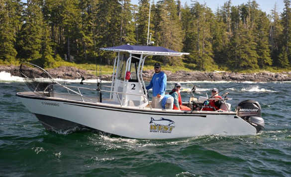 Anglers in a boat heading out to begin fishing in Canada/
