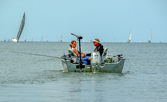 angler and guide in boat in Holland/