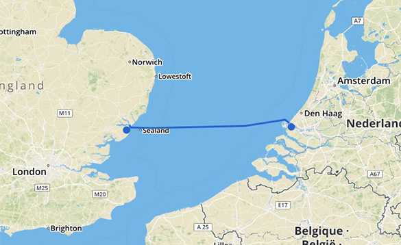 Map showing the Stena Line Harwich to Hook route/