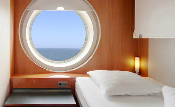 View out to sea from the porthole of the Stena Line Harwich to Hook ferry/