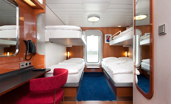 Four berth outside cabin on the Stena Line ferry from Harwich to Hook of Holland/
