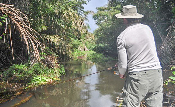 Angler fishing the backwaters in Nicaragua/