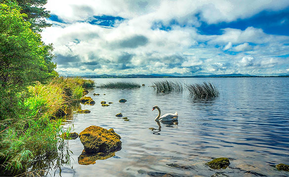 Scenic Lough Derg a big Irish lake/