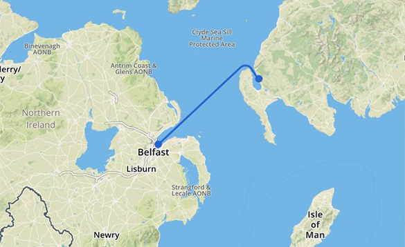 Map showing the Cairnryan to Belfast Stena Line ferry route/