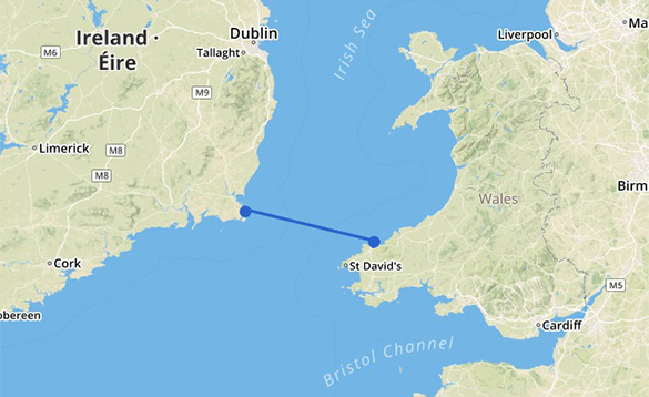 Map showing the Fishguard to Rosslare Stena Line ferry route/