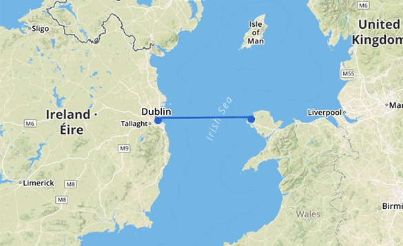 Map showing the Holyhead to Dublin Stena Line ferry route/