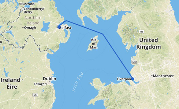 Map showing the Liverpool to Belfast Stena Line ferry route/