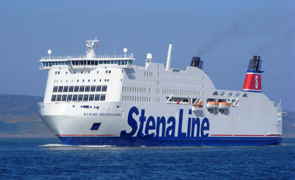Stena Adventurer ferry heading out to sea/