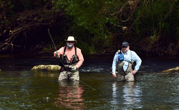 Two anglers fly fishing in Ireland/