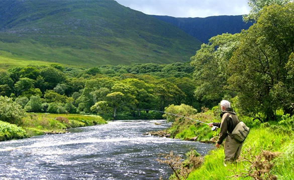 angler standing on a grassy bank beside a river fly fishing/