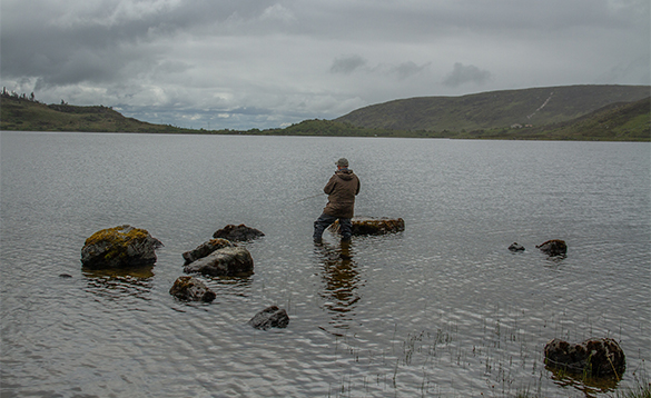 Angler fishing on Lough Talt in Co Mayo/