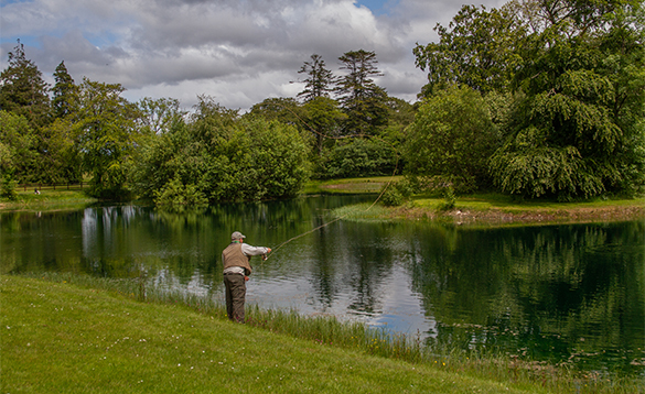Angler fly fishing on a lake in Co Mayo/