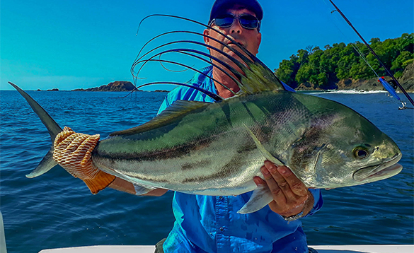 Angler holding a rooster fish caught in Panama/