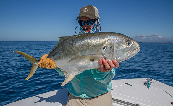 Angler holding a Jack Crevalle caught in Panama/