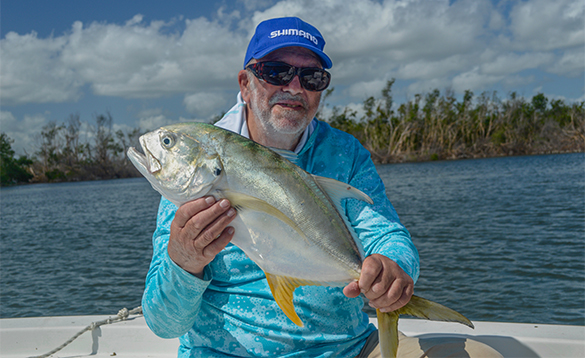 Angler holding a jack fish caught in Puerto Rico/